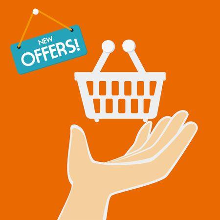 Shopping design over orange background, vector illustration.