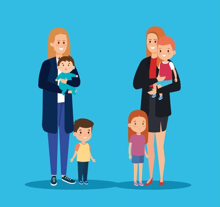 smile mothers friends with their sons and daughter vector illustration