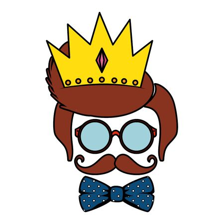 sunglasses and mustache with bowtie and crown hipster style vector illustration Reklamní fotografie - 133840576