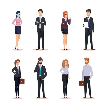 executive businessmen and businesswomen with briefcase and documents vector illustration