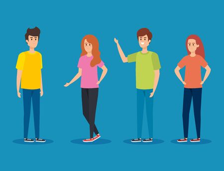 girls and boys with hairstyle and casual clothes vector illustration