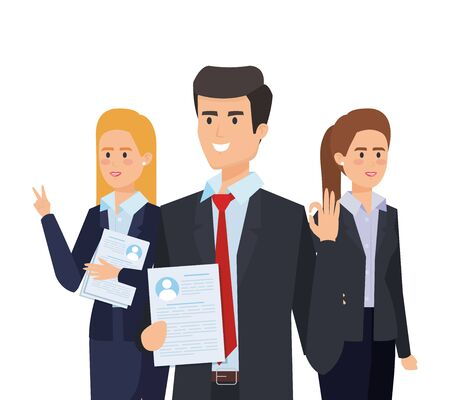 professional elegant businesspeople with executive documents vector illustration