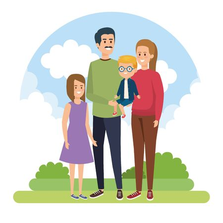 happy man and woman with their son and daughter with bushes vector illustration