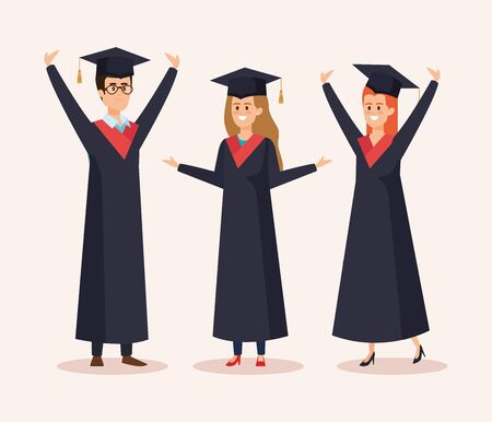 happy women and man graduation with rope and cap vector illustration