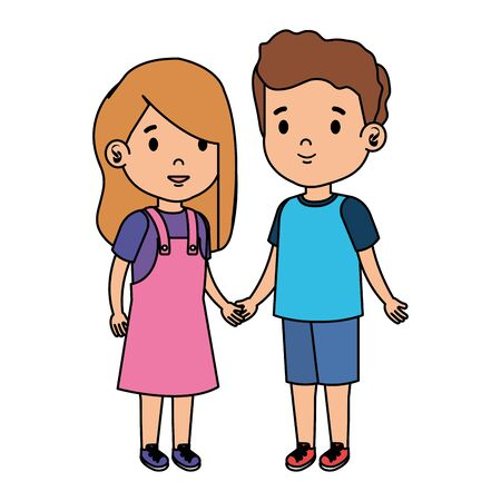 little kids couple characters vector illustration design Stock Illustratie
