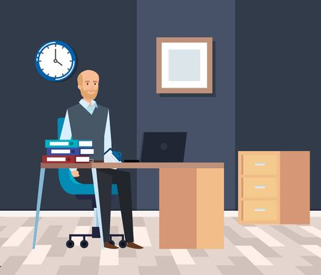 executive businessman with laptop in the desk with clock vector illustration