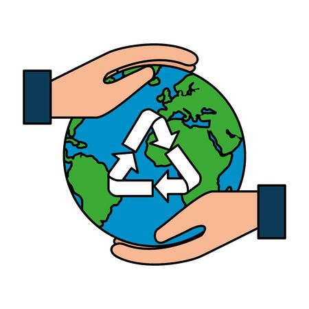 hands protecting earth planet with recycle arrows vector illustration design Stock Illustratie