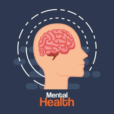 silhouette man head with health brain vector illustration