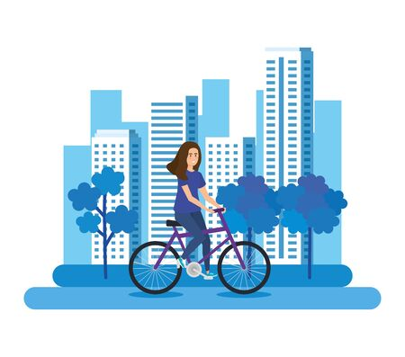 young woman in bicycle character vector illustration design