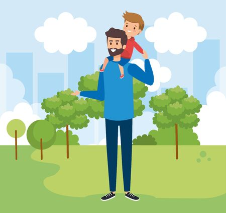 happy man with his son child and trees vector illustration