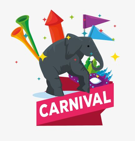 elephant wild animal with flags and firework with trumpets vector illustration Stok Fotoğraf - 133840813