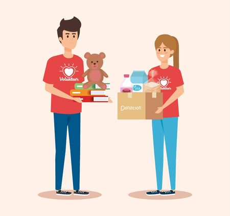 boy and girl volunteers with box and teddy with books vector illustration
