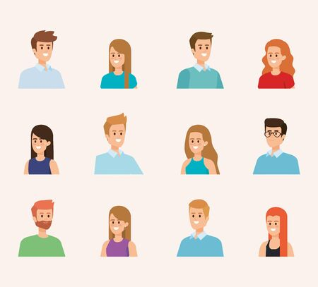 set of happy men and women head with hairstyle vector illustration
