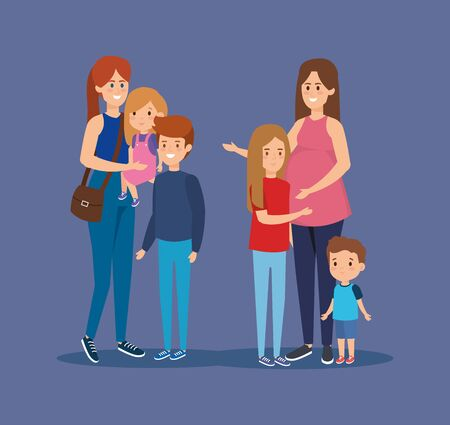 cute mothers friends with their sons and daughter vector illustration