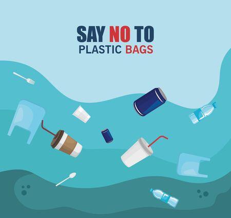 toxic plastics waste in the sea contamination vector illustration Illustration