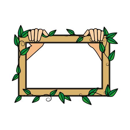 wooden frame with ecology leafs plants vector illustration design Banque d'images - 133840858