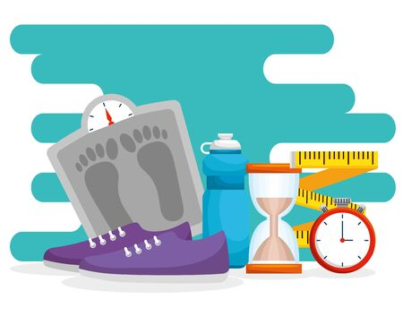 weighing machines with hourglass and measuring tape vector illustration