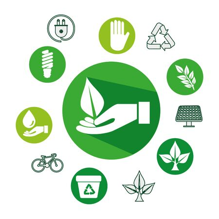 hand with ecology leafs and icons vector illustration design Banque d'images - 133840950