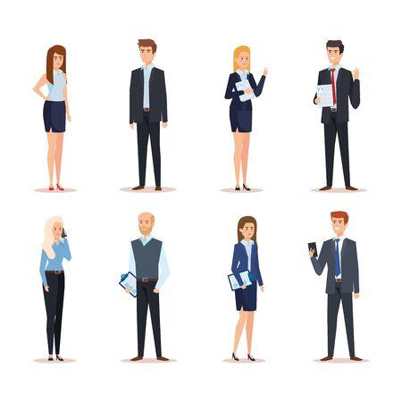 set professional businesswomen and businessmen executive job vector illustration