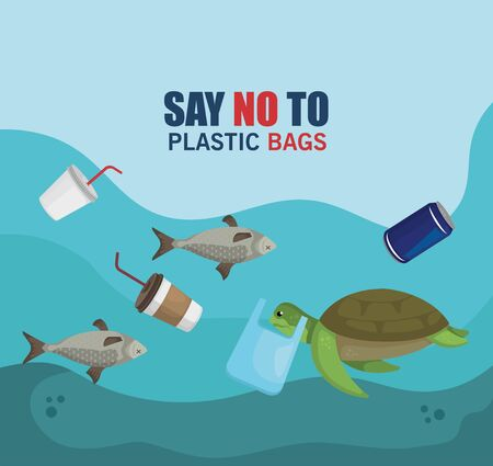 plastics waste in the sea and animals contamination vector illustration Illustration