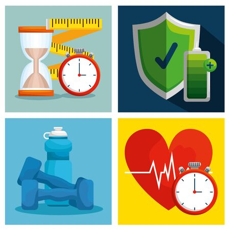 set health lifestyle with wellness exercise balance vector illustration