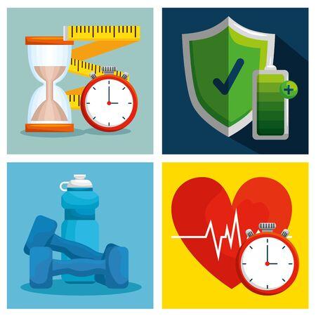set health lifestyle with wellness exercise balance vector illustration