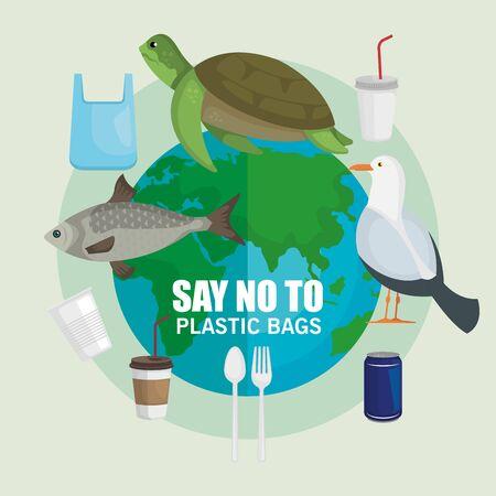 toxic bags pollution to animals and environment contamination vector illustration Vektoros illusztráció