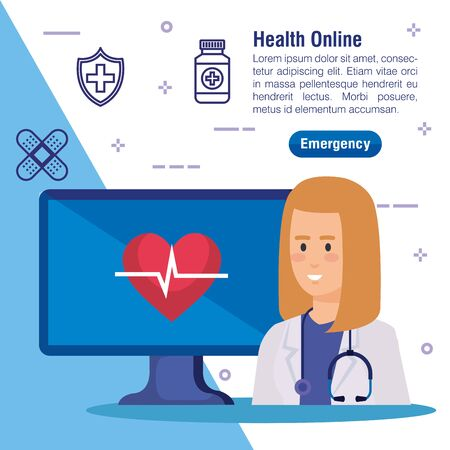 woman doctor with computer technology and heartbeat vector illustration