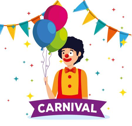 man clown costume with balloons and party banner vector illustration