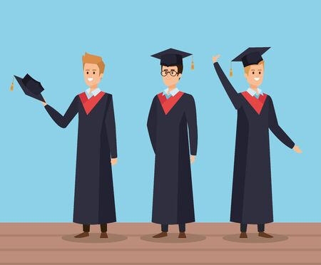men university friends graduation with rope and cap vector illustration