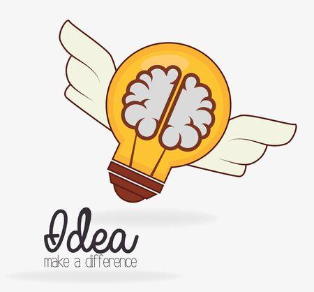 Idea design su sfondo bianco, illustrazione vettoriale. Vettoriali