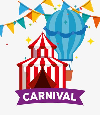 circus festival with air balloon and party banner decoration vector illustration Иллюстрация