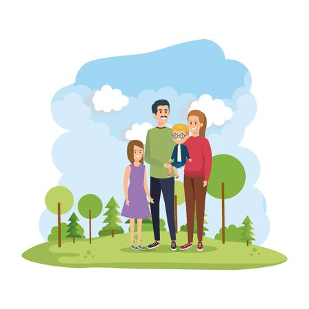 parents couple with son and daughter in the park scene vector illustration design