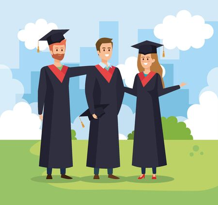 woman and men friends graduation with rope and cap vector illustration