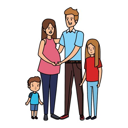parents couple with son and daughter characters vector illustration design