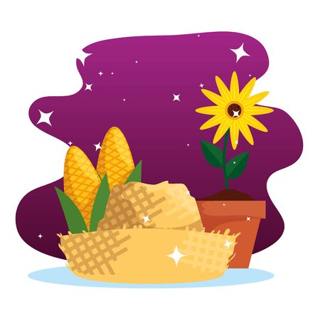 sunflower plant with cob and hat decoration vector illustration