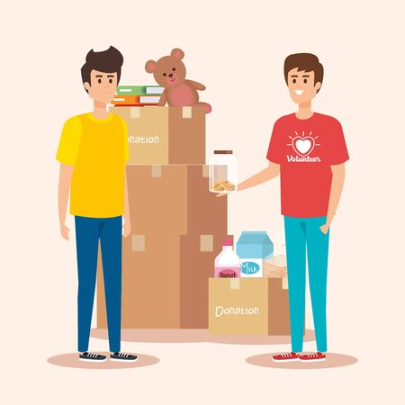 boys with boxes donation and yogurt with milk vector illustration