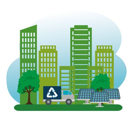 ecology building with truck biofuels and solar energy vector illustration