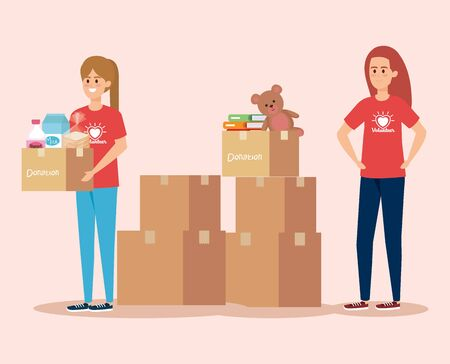 girls volunteers service with boxes donation vector illustration