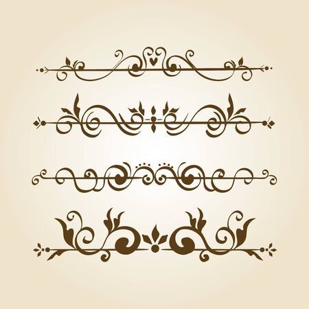 bundle of elegant ornamental borders frames vector illustration design