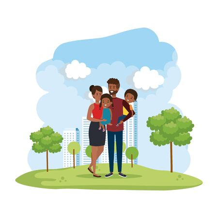 afro parents couple with daughter and son in the park vector illustration design
