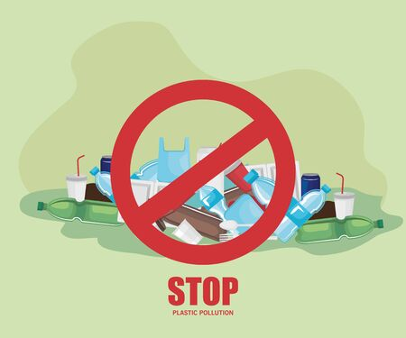 toxic plastics waste contamination of environment vector illustration Illustration