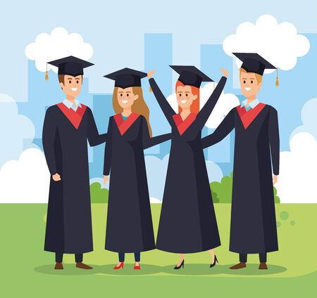 happy women and men university graduation with rope and cap vector illustration