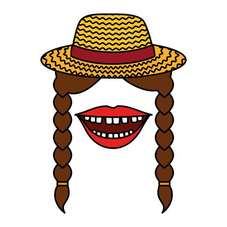 female gardener straw hat with mouth and braids vector illustration design