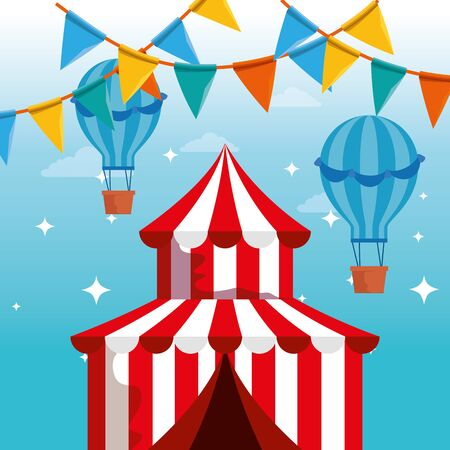 circus with air balloons and party banner to carnival festival vector illustration Иллюстрация