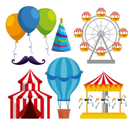 set of carnival traditional decoration to festival celebration vector illustration