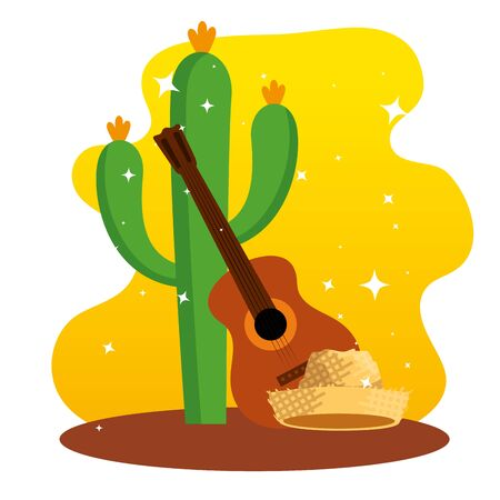 cactus plants with guitar and hat decoration vector illustration