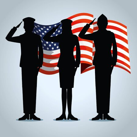 usa flag with patriotic militaries to holiday vector illustration Çizim