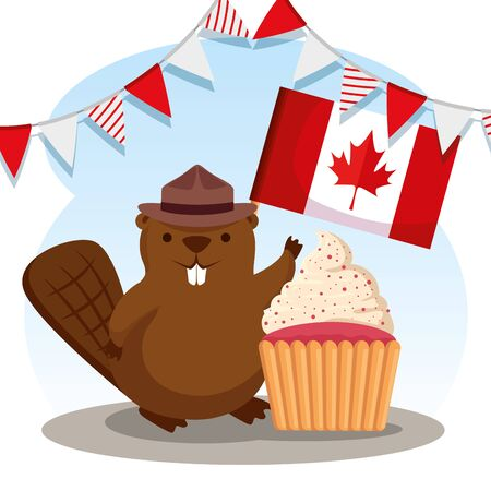 party banner and beaver with flag and muffin vector illustration