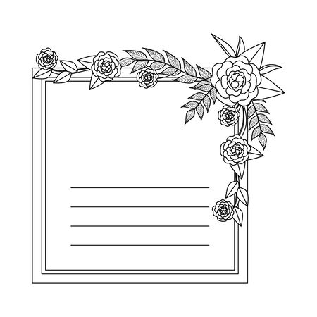 postcard with roses and leafs decoration vector illustration design Çizim
